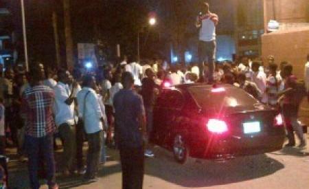 UNILAG students damage Davido's car after concert