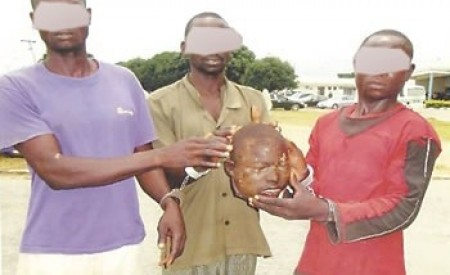 GRAPHIC PHOTO: Ritualists Arrested For Cutting Off 10-Year-Old Boy's Head For Money Rituals In Niger