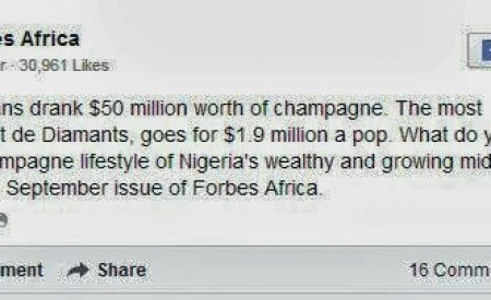 Forbes:  Nigerians Consumed $50million Worth Of Champagne In 2011