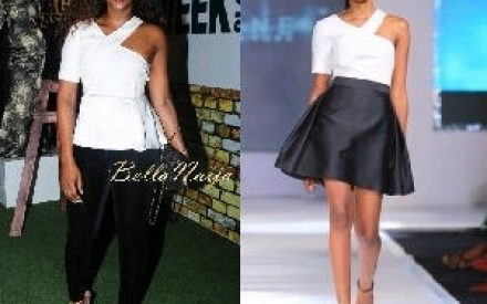 Genevieve Nnaji rocks another chic look to GTB lagos Fashion and Design week 2013