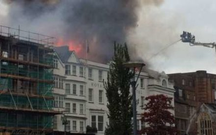 Exeter Fire Outbreak Wrecks England's Oldest Hotel.