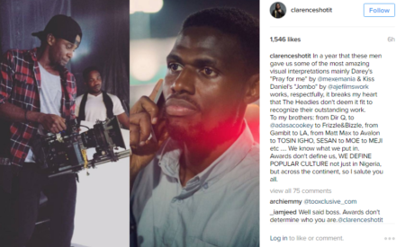 Clarence Peters Blasts Organizers of Headies Awards